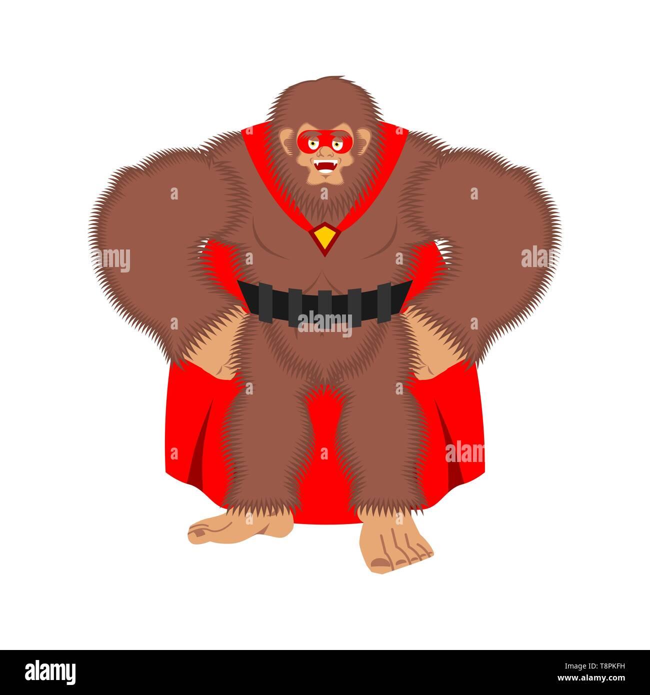 Bigfoot superhero. Super Yeti in mask and raincoat. Strong sasquatch - Stock Image