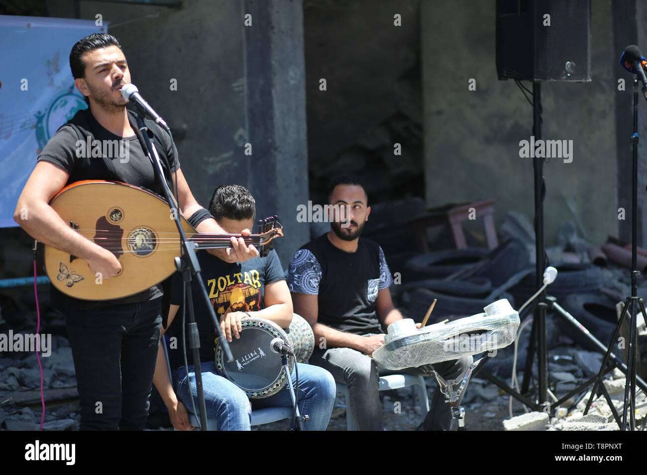Gaza City, Palestine  14th May, 2019  Palestinian band perform at