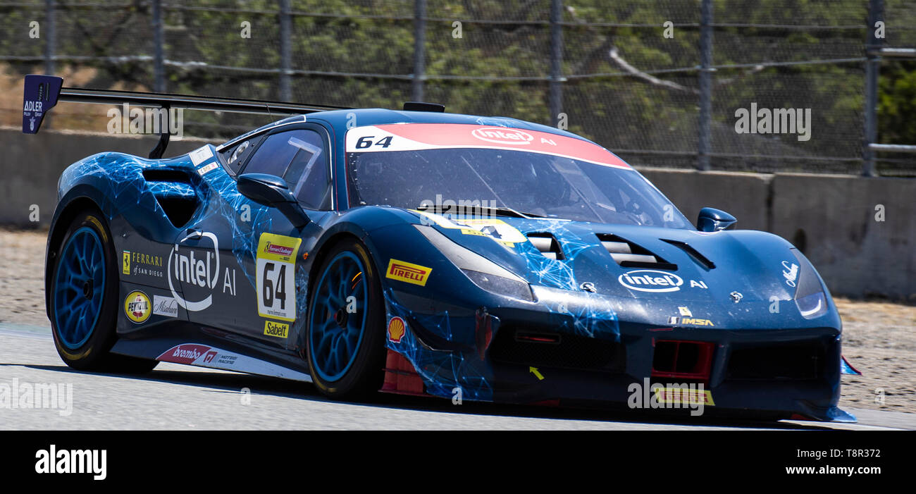 May 12 2019 Monterey CA, U.S.A. # 64 Naveen Rao of Ferrari of San Diego on Rahal Straight during the Ferrari Challenge Race 2 P/P- AM at Weathertech Raceway Laguna Seca Monterey CA Thurman James/CSM - Stock Image