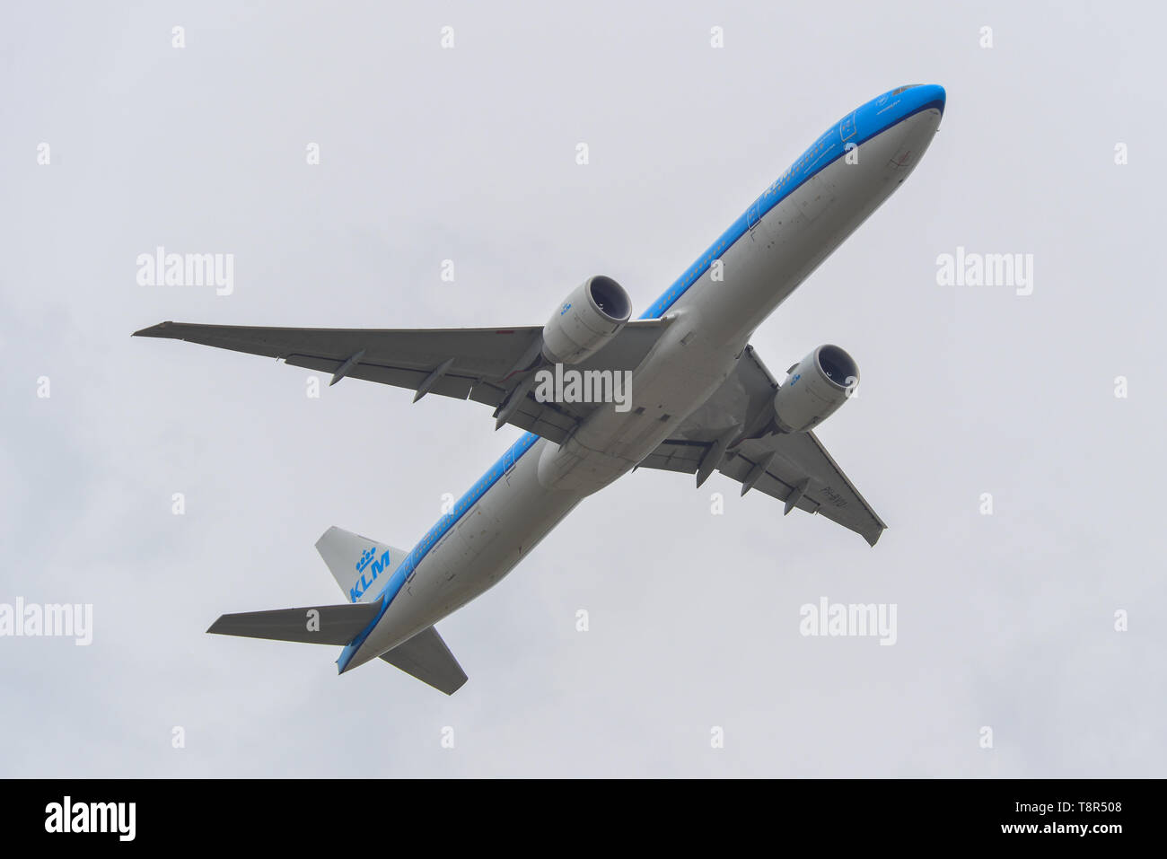 Tokyo, Japan - Apr 17, 2019. PH-BVU KLM Royal Dutch Airlines Boeing 777-300ER taking-off from Narita Airport (NRT). - Stock Image