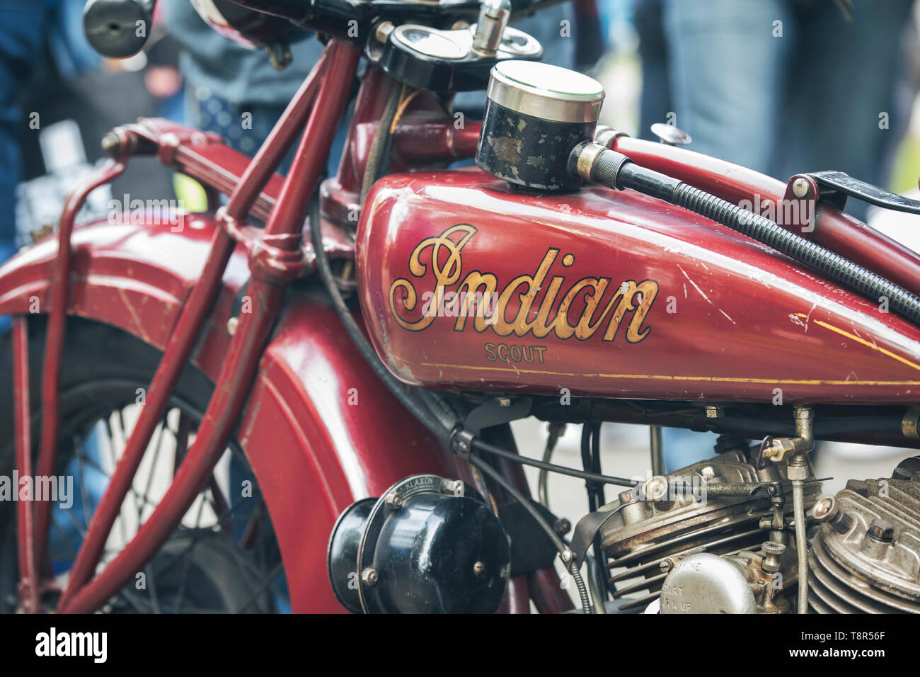 1930 Indian 101 Scout motorcycle. at Bicester Heritage Centre 'Drive It Day'.  Bicester, Oxfordshire, England. Vintage filter applied - Stock Image