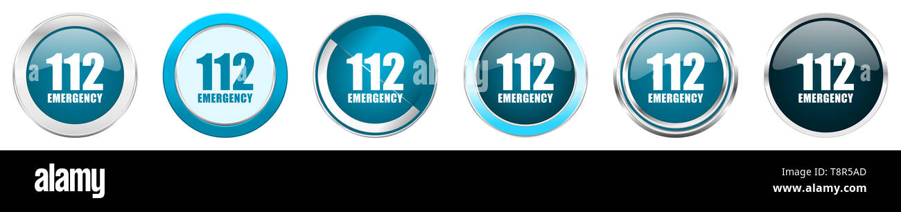 Number emergency 112 silver metallic chrome border icons in 6 options, set of web blue round buttons isolated on white background - Stock Image