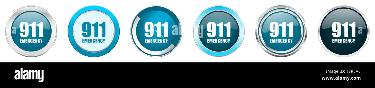 Number emergency 911 silver metallic chrome border icons in 6 options, set of web blue round buttons isolated on white background - Stock Image