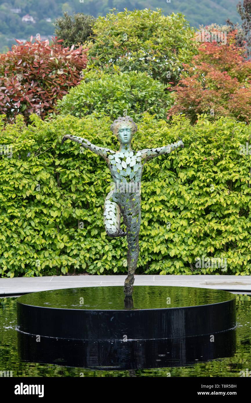 Ballerina sculpture in the The Leaf Creative Garden. A Garden of Quiet Contemplation at RHS Malvern spring show 2019. Malvern, Worcestershire, UK - Stock Image