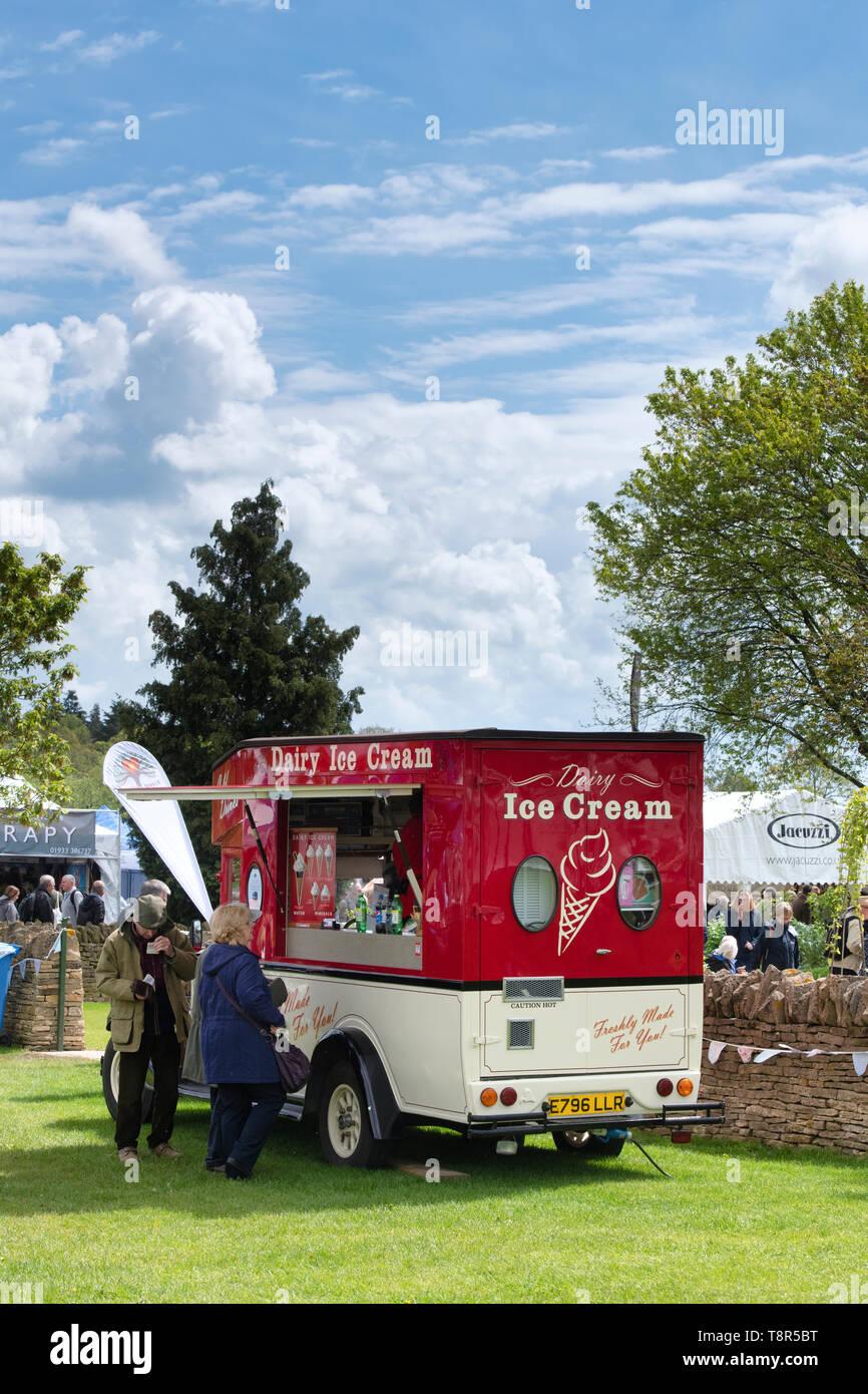 Dairy ice cream van at RHS Malvern spring show 2019. Three Counties Showground, Malvern, Worcestershire, England - Stock Image