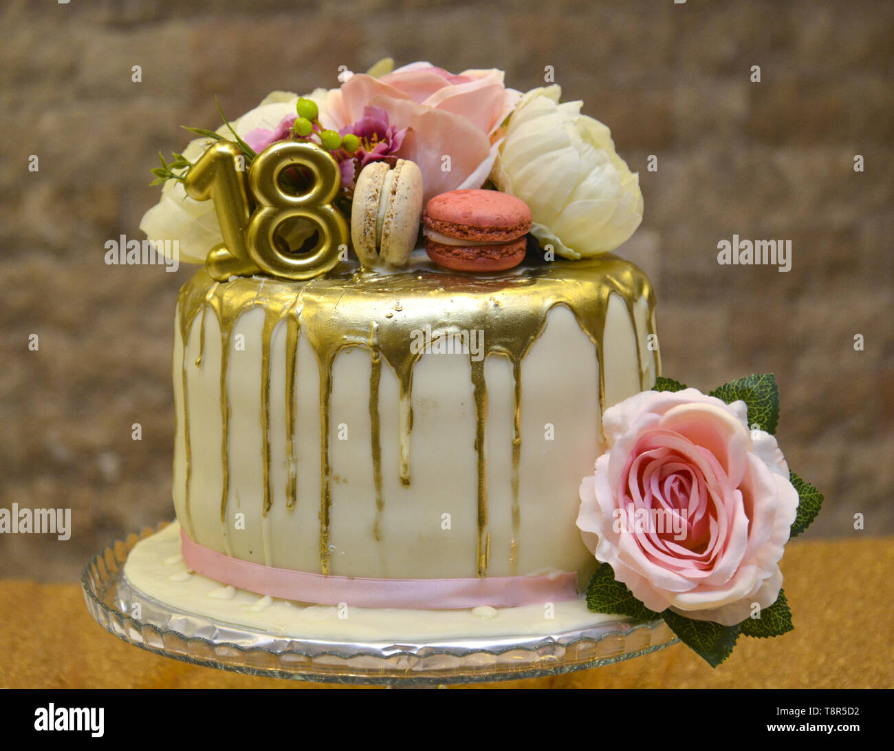 Surprising Golden Birthday Cake With Number 18 And Roses On The Cake Stock Funny Birthday Cards Online Alyptdamsfinfo