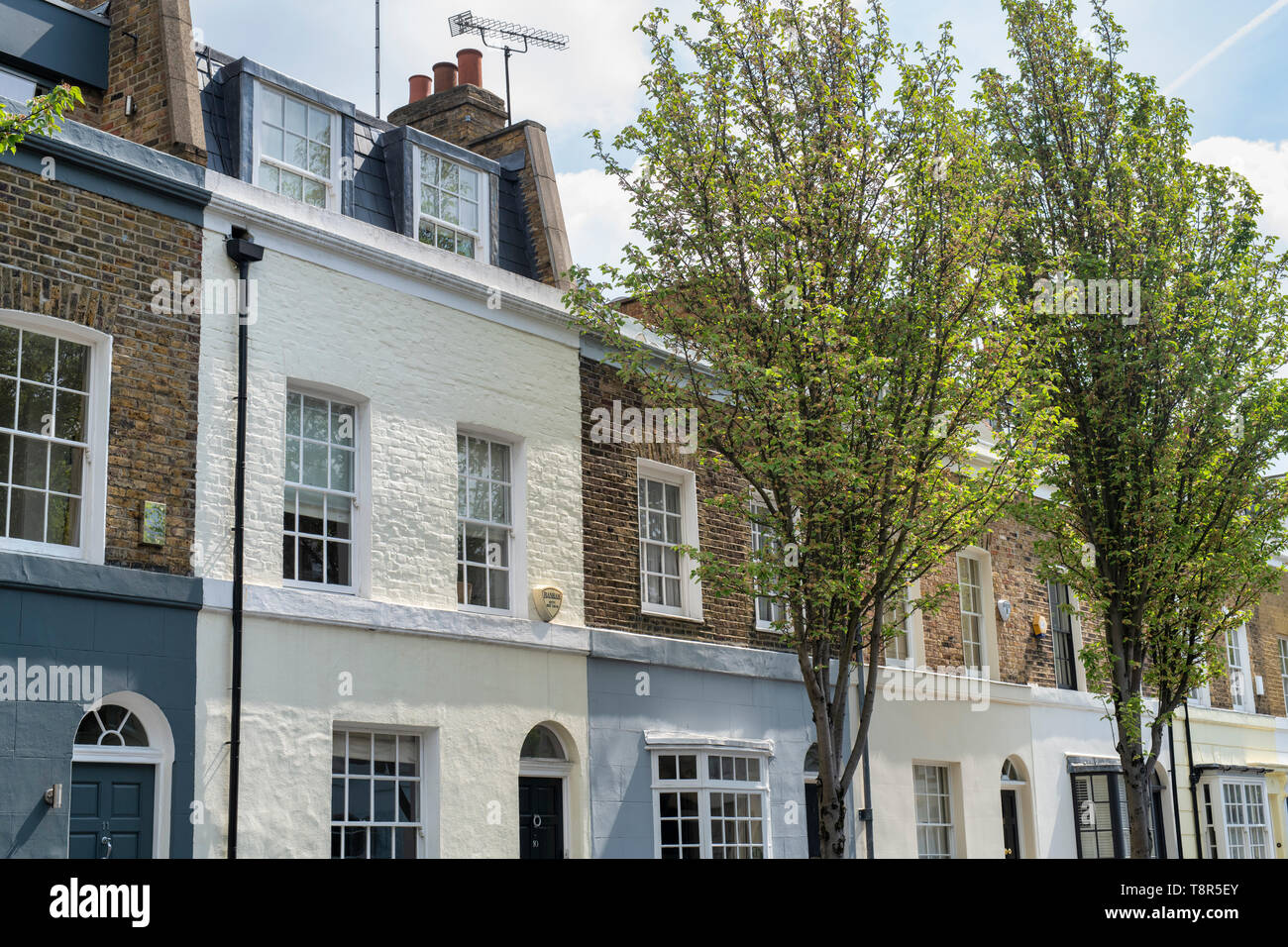Painted Houses along Markham Street, Chelsea, London, England - Stock Image