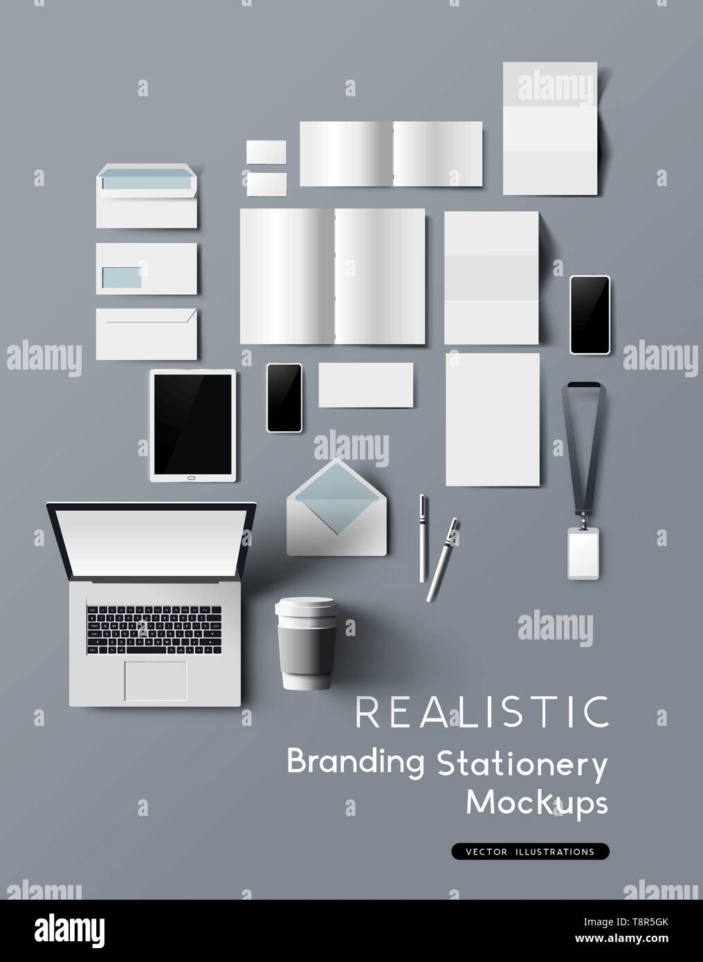 A realistic and detailed collection of business office branding and identity stationery mockups, with smartphones, tablet, notebook and brochures. Vec Stock Vector