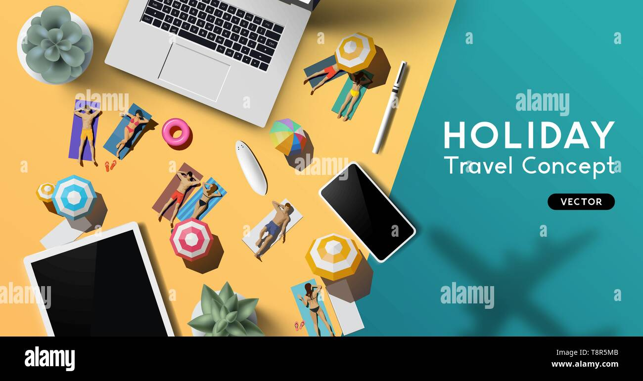 Travel and vacation concept with a notebook, smartphone and tablet on a desk with people relaxing in the sun as a plane flies past. - Stock Vector