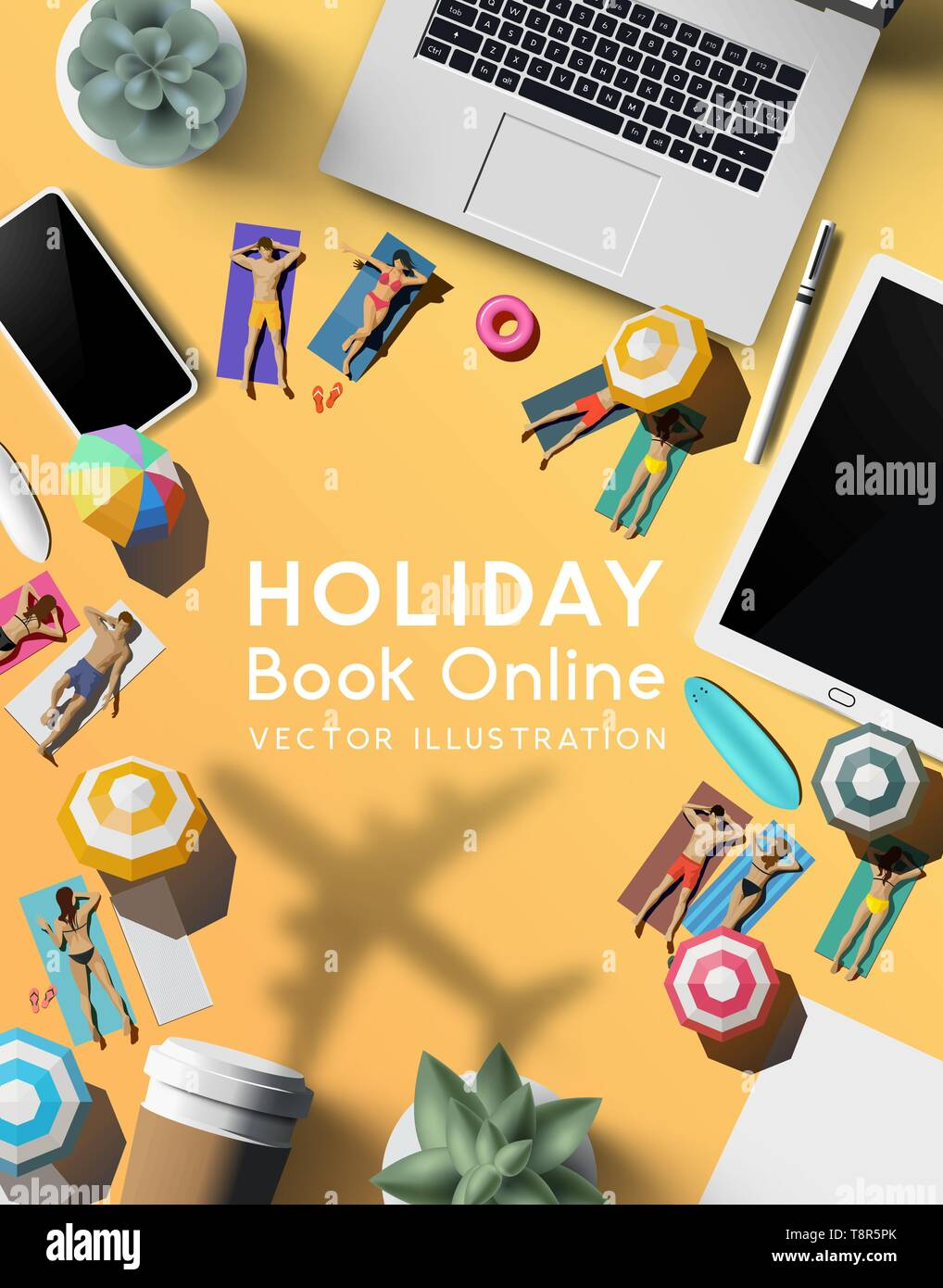 Booking a holiday trip online. travel concept with a notebook, smartphone and tablet on a desk with people relaxing in the sun as a plane flies past. - Stock Vector