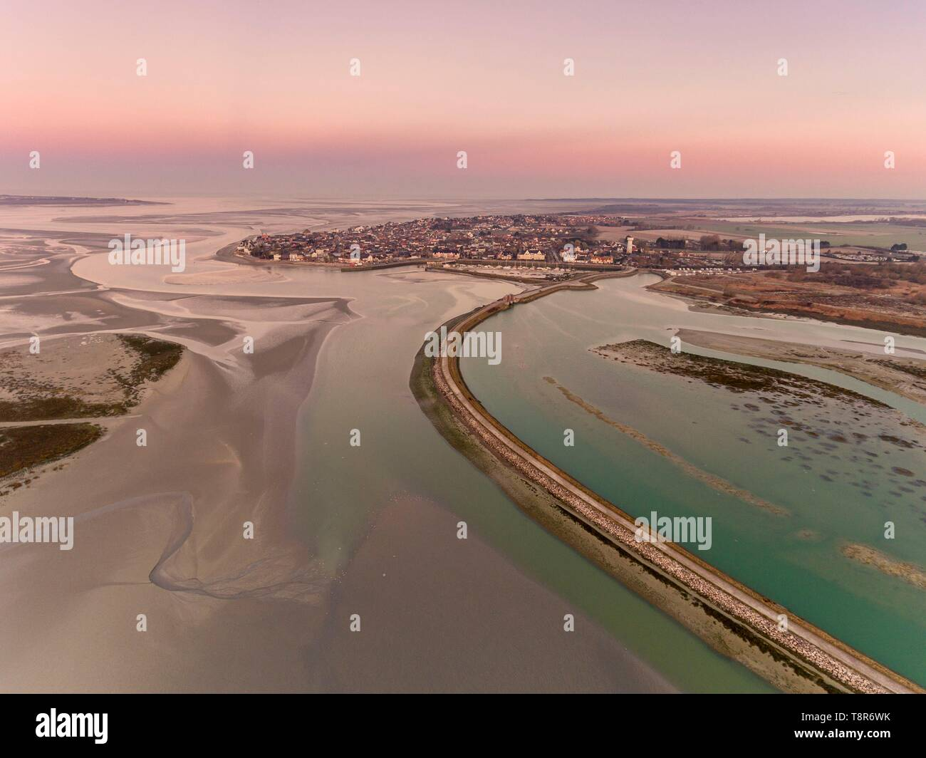France, Somme, Baie de Somme, Le Crotoy, aerial view of Le Crotoy and the flush pond used to evacuate sediments and fight the silting of the bay Stock Photo