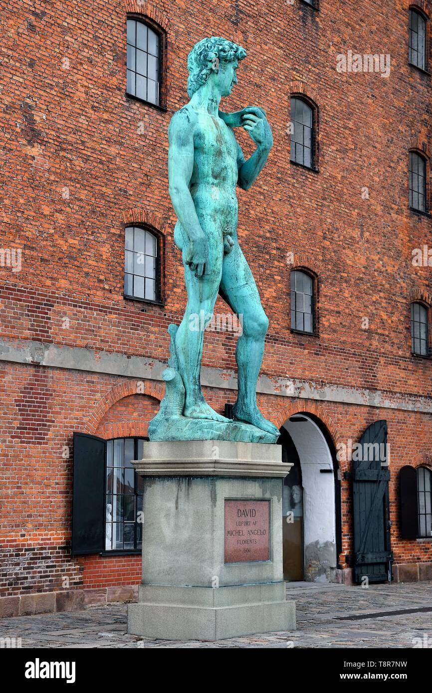 Denmark, Zealand, Copenhagen, Larsens Plads, National Gallery of Denmark, museum of the royal collection of copies (Den Kongelige Afstøbningssamling) at the Danish West Indian Warehouse, replica of Michelangelo's David statue on the seafront Stock Photo