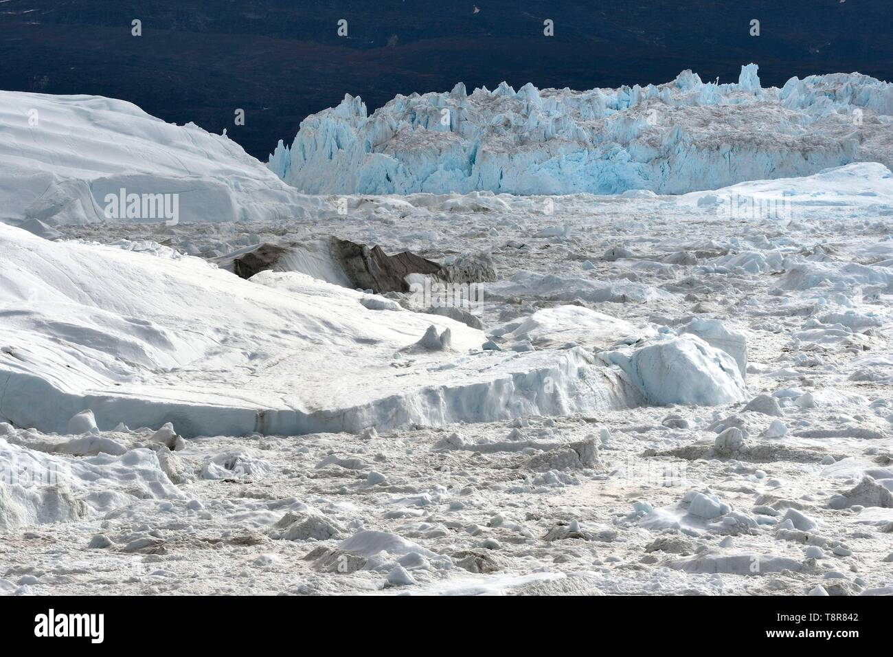 Greenland, West Coast, Disko Bay, Ilulissat, icefjord listed as World heritage by UNESCO that is the mouth of the Sermeq Kujalleq Glacier (Jakobshavn Glacier) - Stock Image