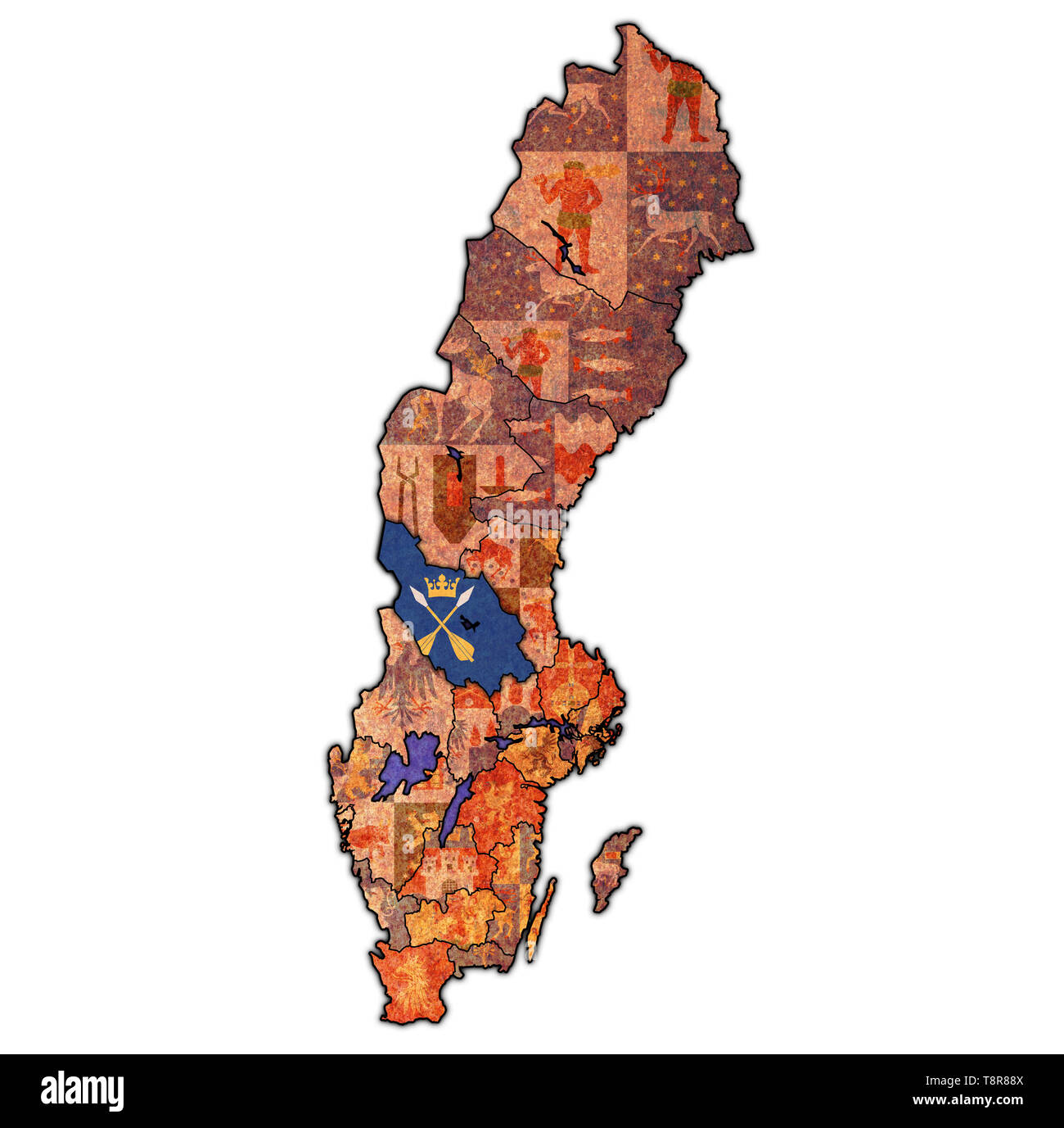 flag of Dalarna county on map of administrative divisions of Sweden with clipping path - Stock Image
