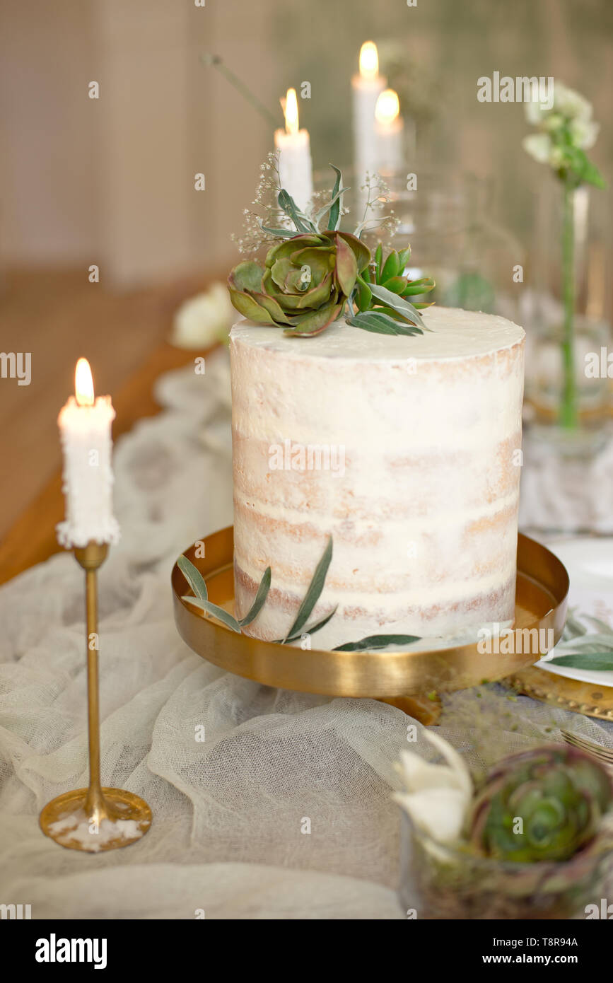 Elegant White Wedding Cake With Flowers And Succulents In Boho Style Rustic Wedding Cake Stock Photo Alamy