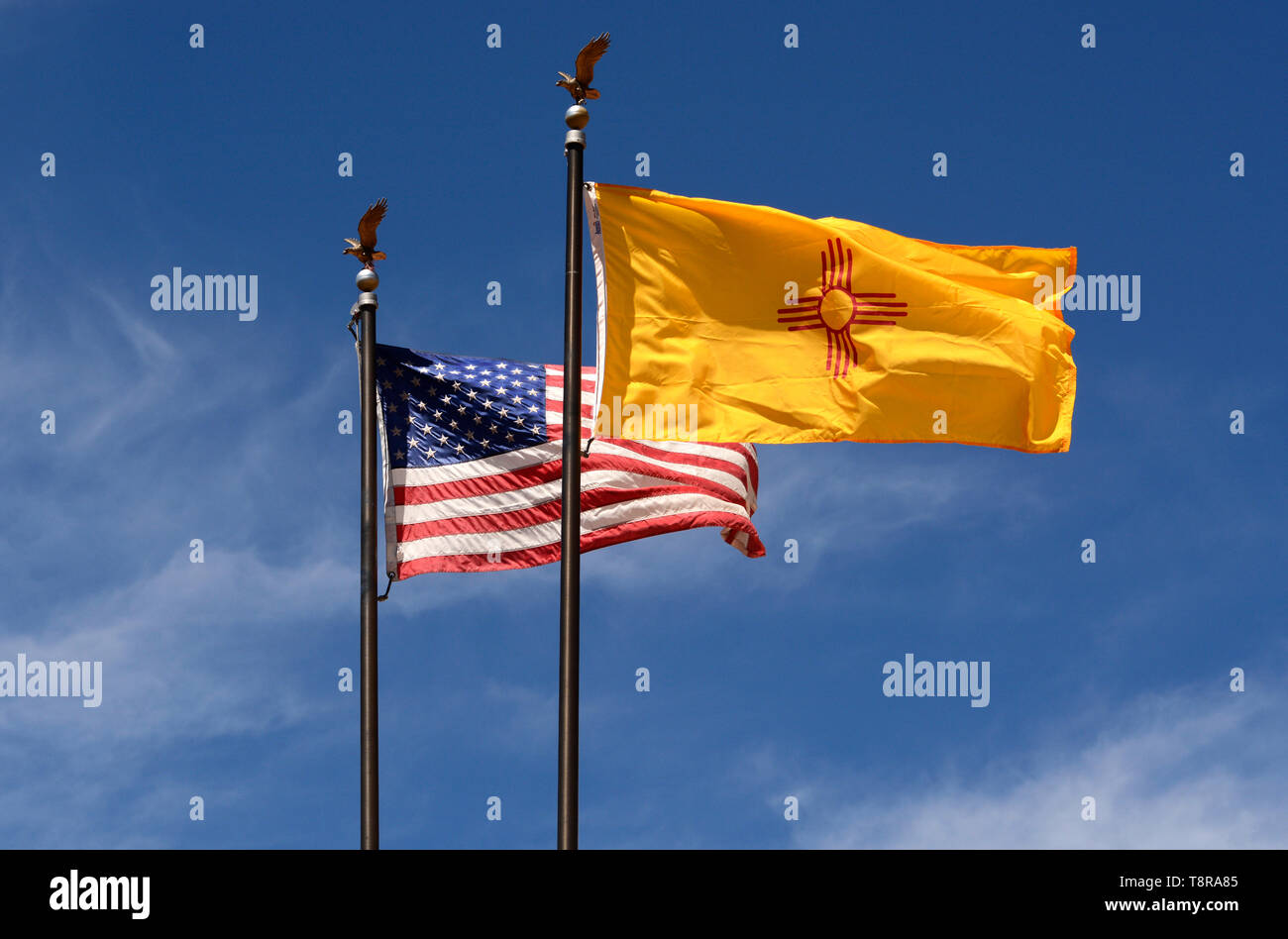 An American Flag And A New Mexico State Flag Fly Over The New Mexico Museum Of Art In Santa Fe New Mexico Usa Stock Photo Alamy