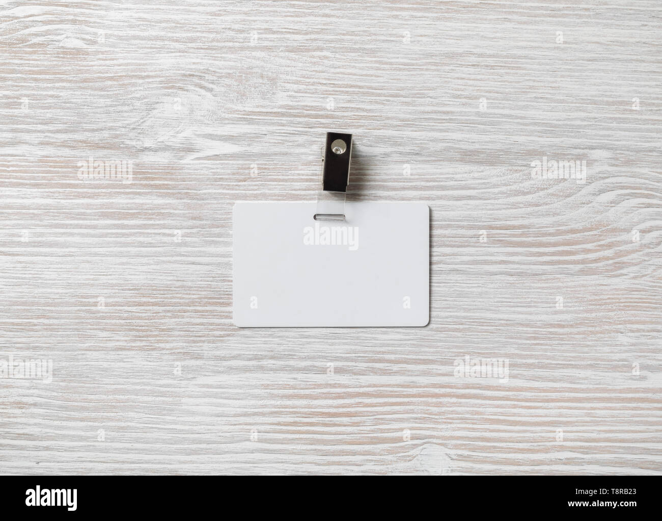 Blank Plastic Badge Mockup On Light Wooden Background White Id