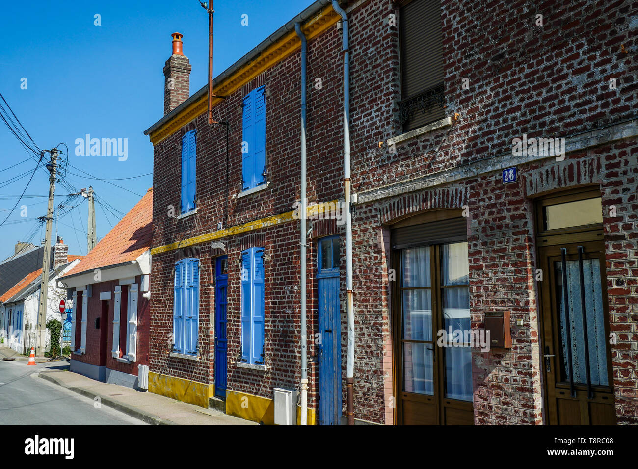 Fishermen's houses, Le Crotois, Bay of Somme, Hauts-de-France, France Stock Photo