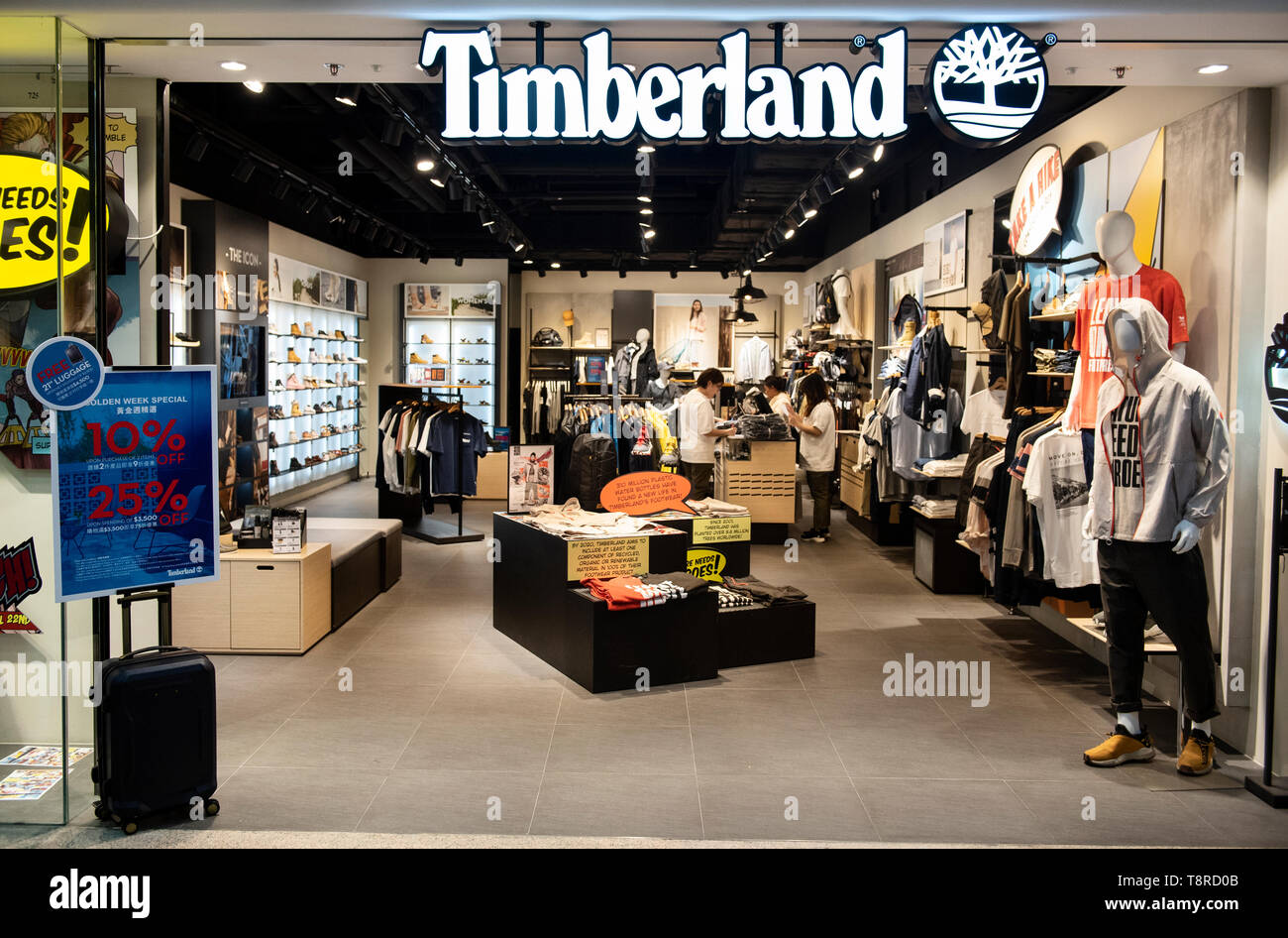 American clothing and footwear company brand Timberland seen