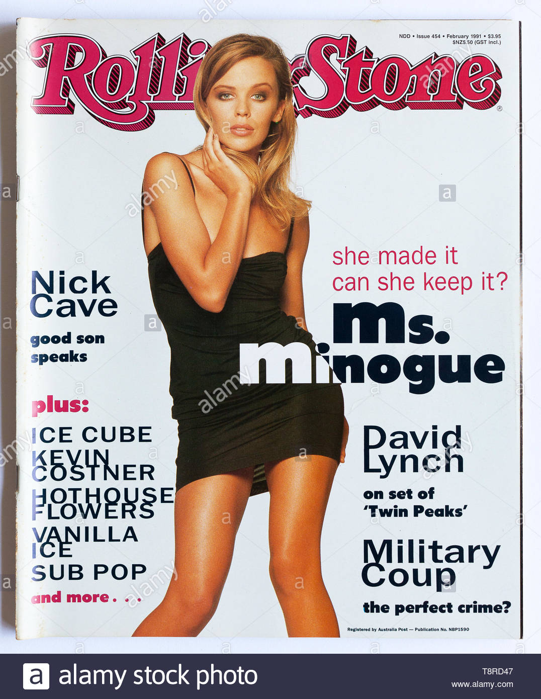 The Cover Of Rolling Stone Magazine Issue 454 February 1991 Featuring Kylie Minogue Stock Photo Alamy
