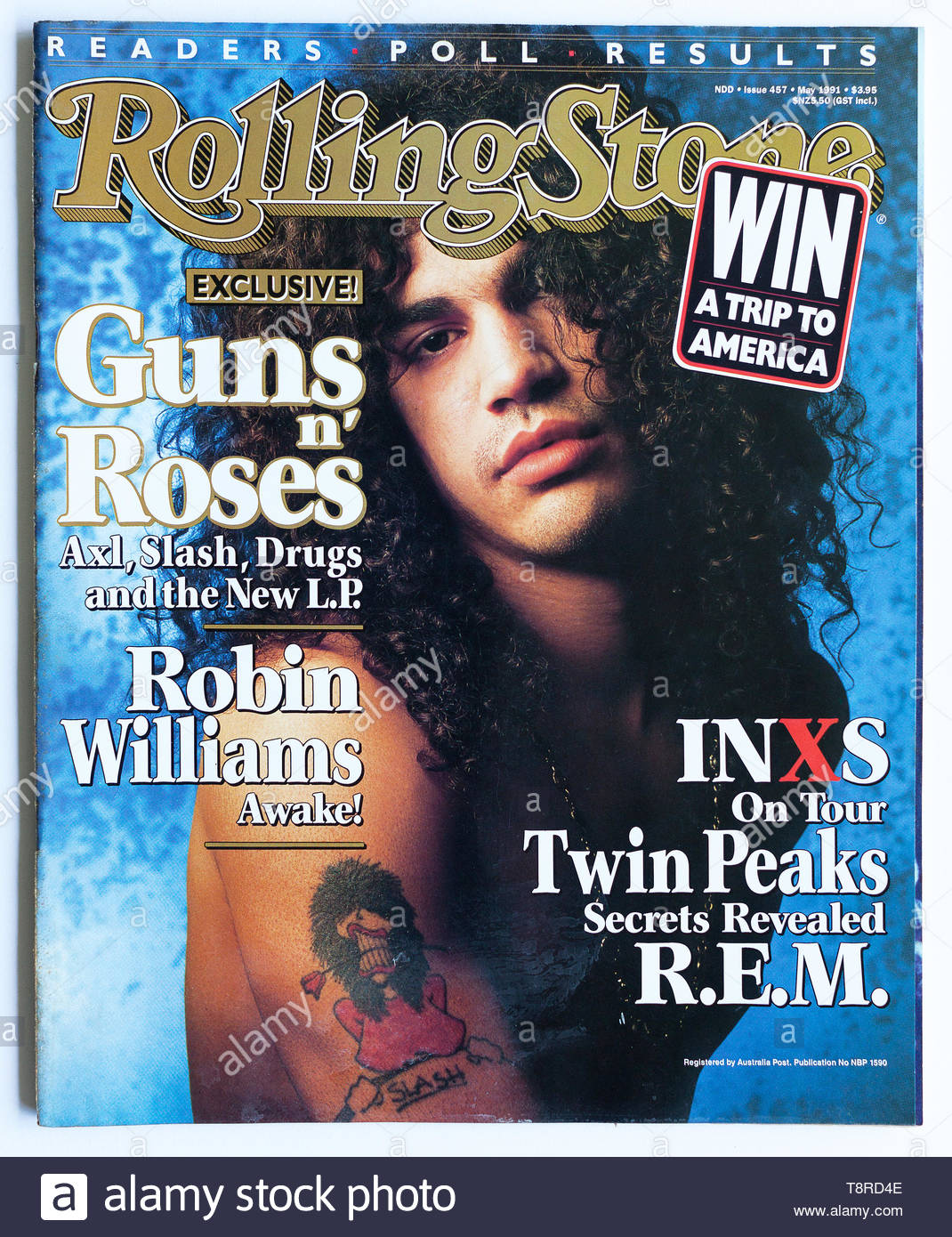 The Cover Of Rolling Stone Magazine Issue 457 May 1991 Featuring Slash From Guns N Roses Stock Photo Alamy