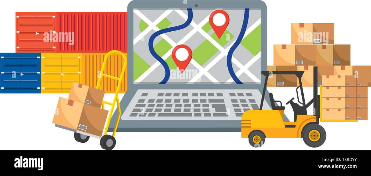 delivery and transport elements laptop, map, boxes, pushcart, lift truck, and container vector illustration graphic design - Stock Image