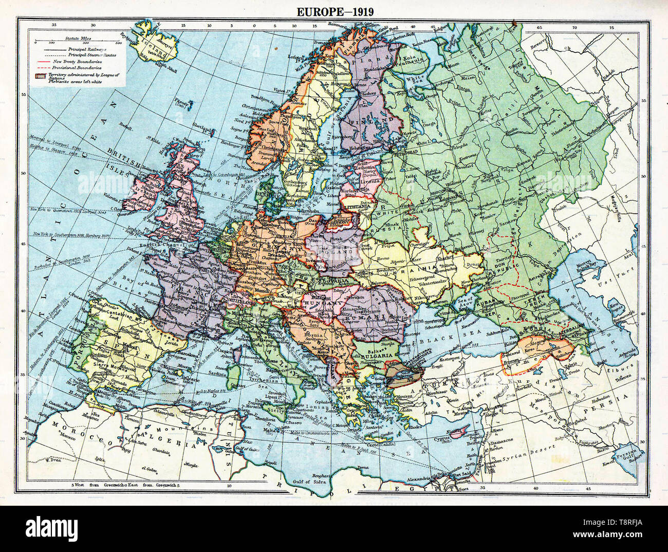 Map of Europe political divisions in 1919 (after the treaties of Brest-Litovsk and Versailles and before the treaties of Trianon, Riga, Kars and the establishment of Soviet Union and the republics of Ireland and Turkey. - Stock Image