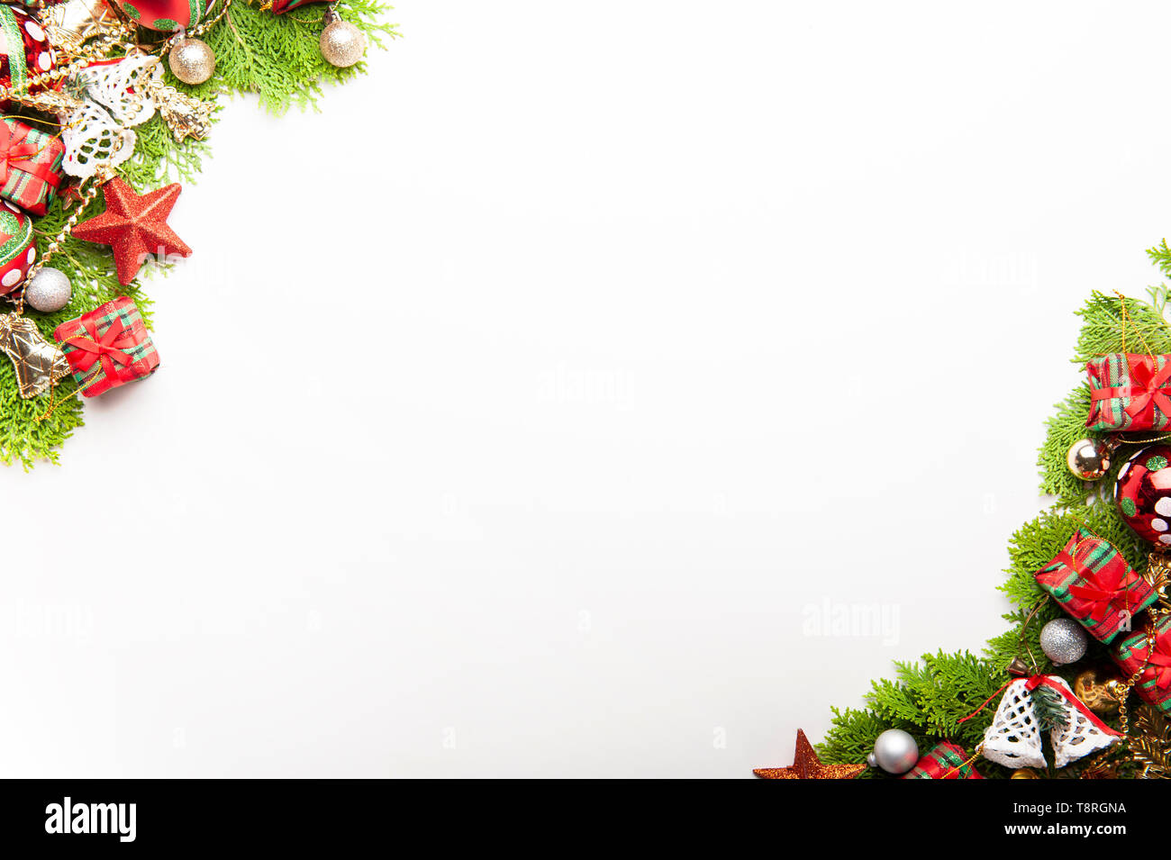 Christmas Top View.Top View Of Christmas Background Template With Decorations