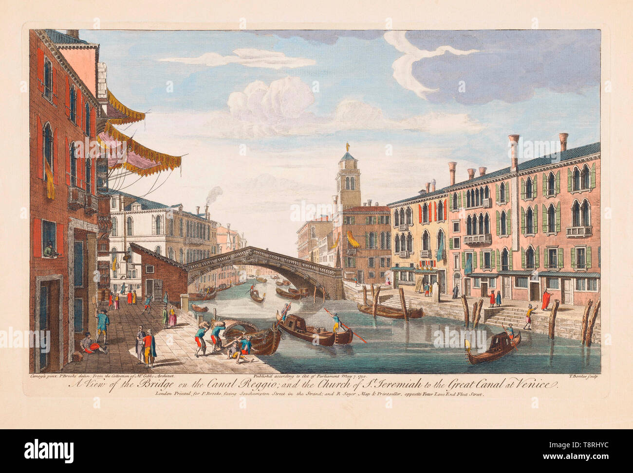 A view of the bridge on the Canal Reggio and the Church of St. Jeremiah to the Great Canal at Venice.  From an engraving dated 1750 by Thomas Bowles II after a work by P. Brookes.  Later colourization. - Stock Image