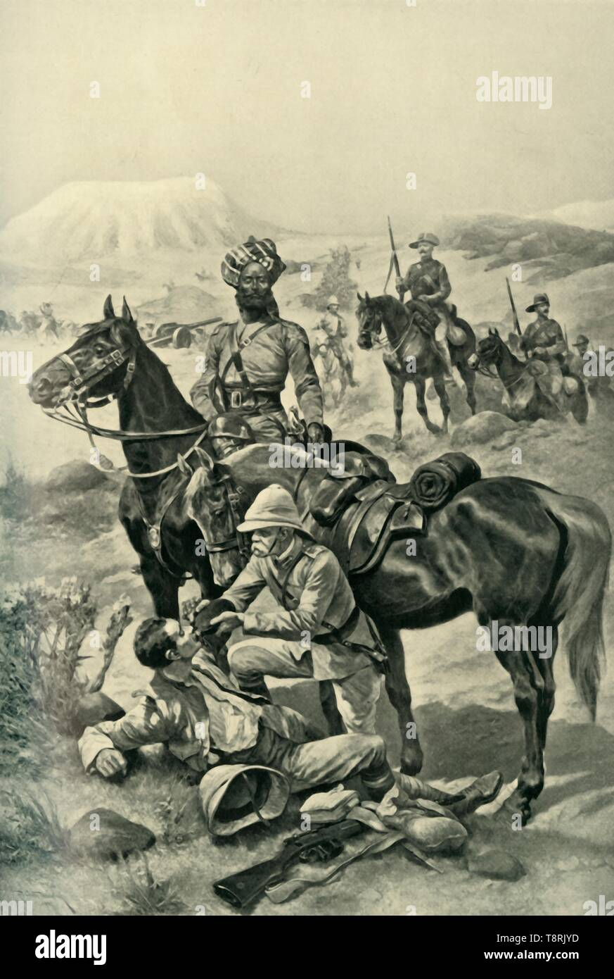 """'Just Like Bobs', (1901). British commander Frederick Sleigh Roberts (1832-1914) fought the Boers in South Africa, 1899-1900. Here 'Bobs', as he was nicknamed, gives water to a wounded soldier, in a slightly hagiographical depiction. From """"The Life and Deeds of Earl Roberts, Vol. IV. - To Lord Roberts's Reign in Pall Mall"""", by J. Maclaren Cobban. [T. C. & E. C. Jack, Edinburgh, 1901] - Stock Image"""