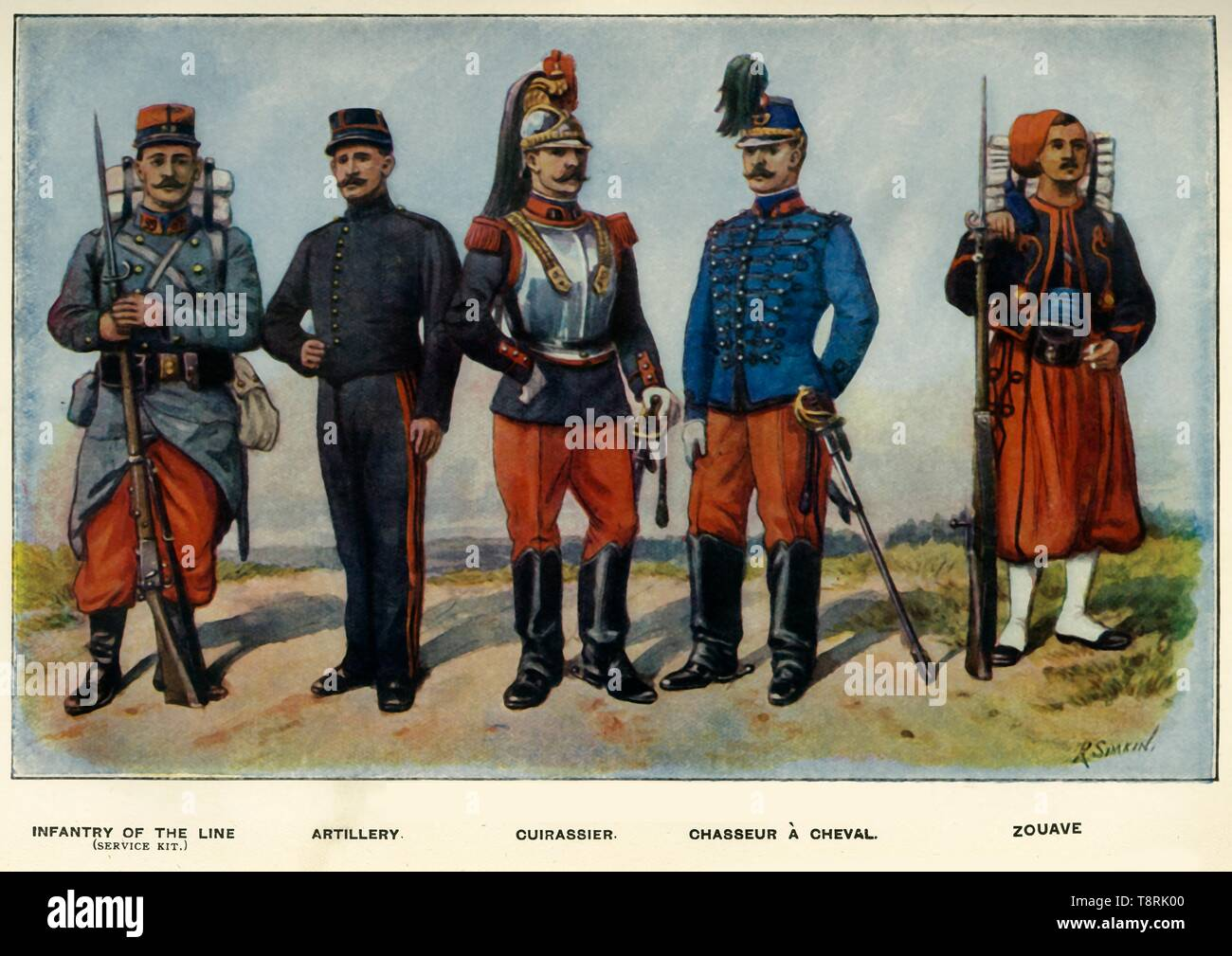 """'Types of the French Army', 1919. Soldiers serving in the First World War, 1914-1919: Infantry of the Line (service kit); Artillery; Cuirassier; Chasseur à Cheval; Zouave. From """"The History of the Great European War: its causes and effects"""", Vol. II, by W. Stanley Macbean Knight. [Caxton Pulishing Company, Limited, London, 1919] - Stock Image"""