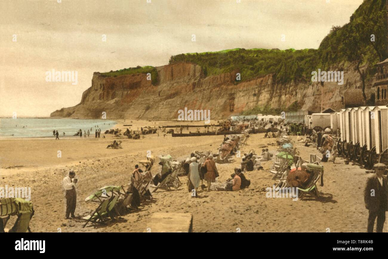 'Appley Beach and Cliffs, Shanklin, I.W.', 1933. Creator: Unknown. - Stock Image