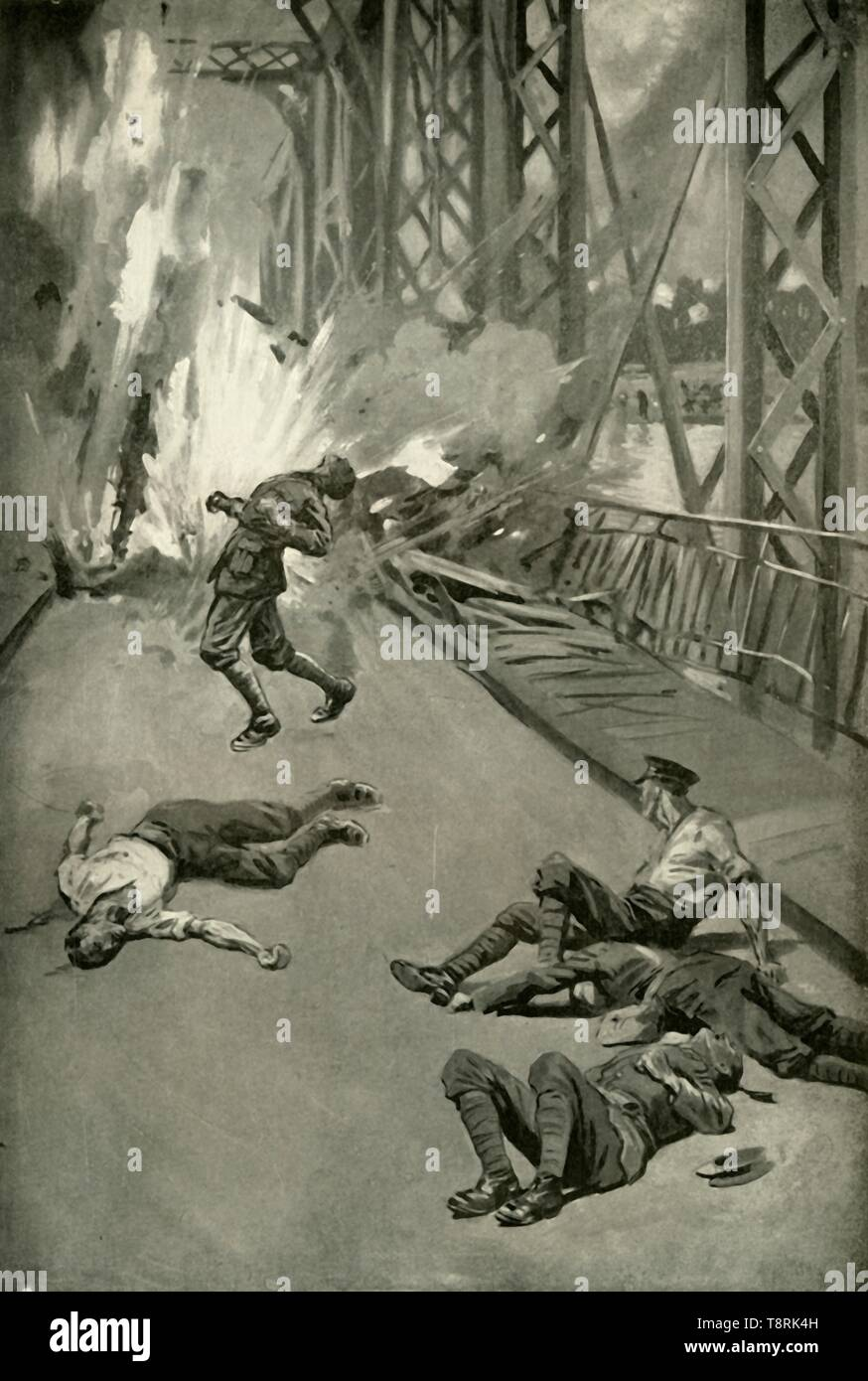 'Blowing Up A Bridge Across the Aisne at Soissons', (1919). Scene from the First World War, 1914-1919: British soldiers destroy a bridge over the River Aisne in northern France. 'Royal Engineers endeavouring to stop the German advance...one by one were killed by the German sharpshooters before they were able to light the fuse. One after another dashed forward to light the fuse; and as one man fell, another rushed to take up the task until the death-toll numbered eleven...the twelfth man, racing across the deadly zone where his comrades lay, lit the fuse - but the hero fell dead beside his gall - Stock Image