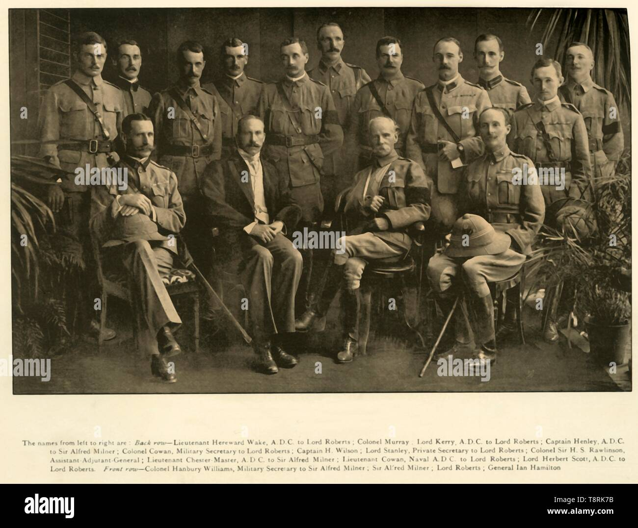 'Lord Roberts and Sir Alfred Milner with their Personal Staffs', 1900, (1901).  Creator: Unknown. - Stock Image