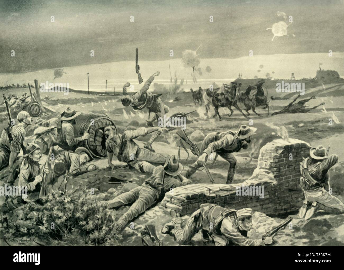 'Mafeking: Eloff's Desperate Attack on the Eve of the Relief', (1901).  Creator: Unknown. - Stock Image