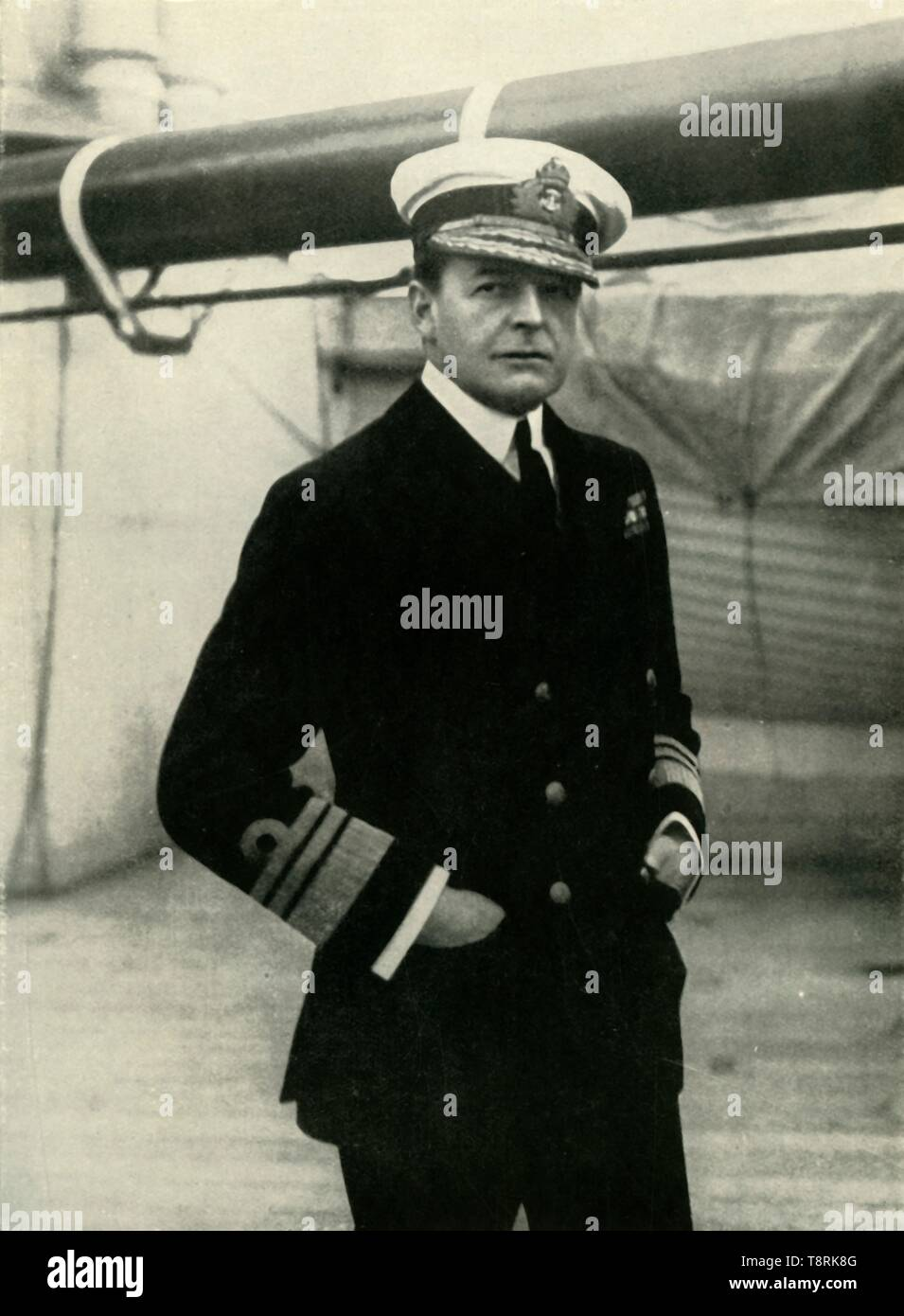 """'Admiral Earl Beatty', 1910s, (1919). Portrait of Admiral David Beatty, 1st Earl Beatty (1871-1936), British naval commander during World War I. Beatty commanded the Royal Navy's battlecruisers at the Battle of Jutland, 31 May 1916. He was appointed Commander-in-chief of the Grand Fleet in 1917, and Admiral of the Fleet and First Sea Lord in 1919. From """"The History of the Great European War: its causes and effects"""", Vol. VIII, by W. Stanley Macbean Knight. [Caxton Pulishing Company, Limited, London, 1919] - Stock Image"""