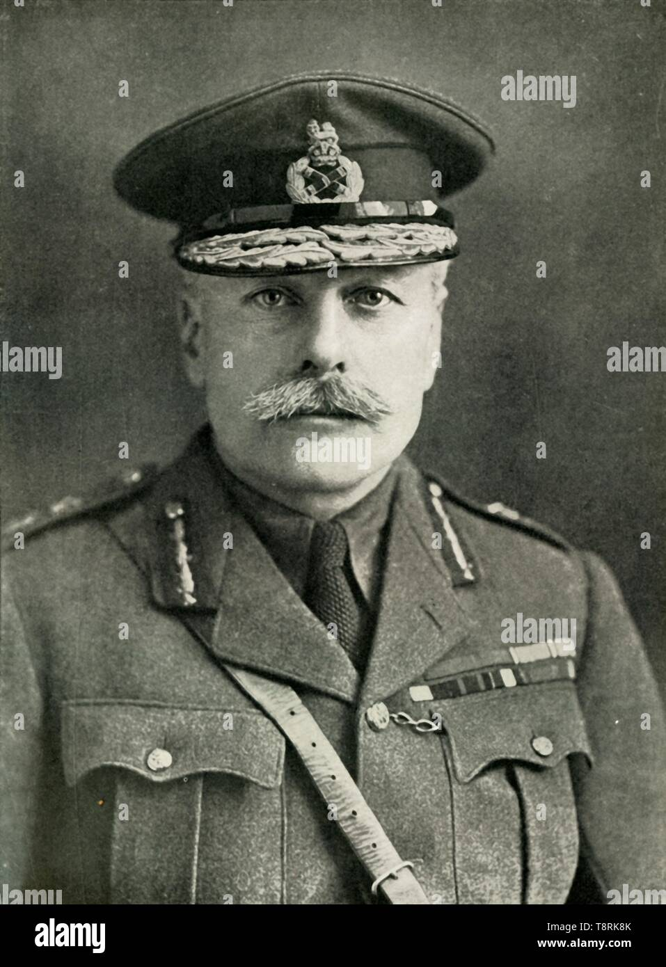 'Field-Marshal Earl Haig', 1910s, (1919). Portrait of Field Marshal Douglas Haig, British soldier and senior commander during World War I. Haig (1861-1928) was commander of the 1st Army Corps of the British Expeditionary Force (BEF) at the outbreak of the war. His troops fought with distinction at Mons and the First Battle of Ypres. In 1915 Haig was promoted to Commander in Chief of the BEF, a post he held until the end of the war. His conduct of the war on the Western Front was controversial. On the one hand, his pursuit of a strategy of attrition and planning of offensives which ultimately m - Stock Image