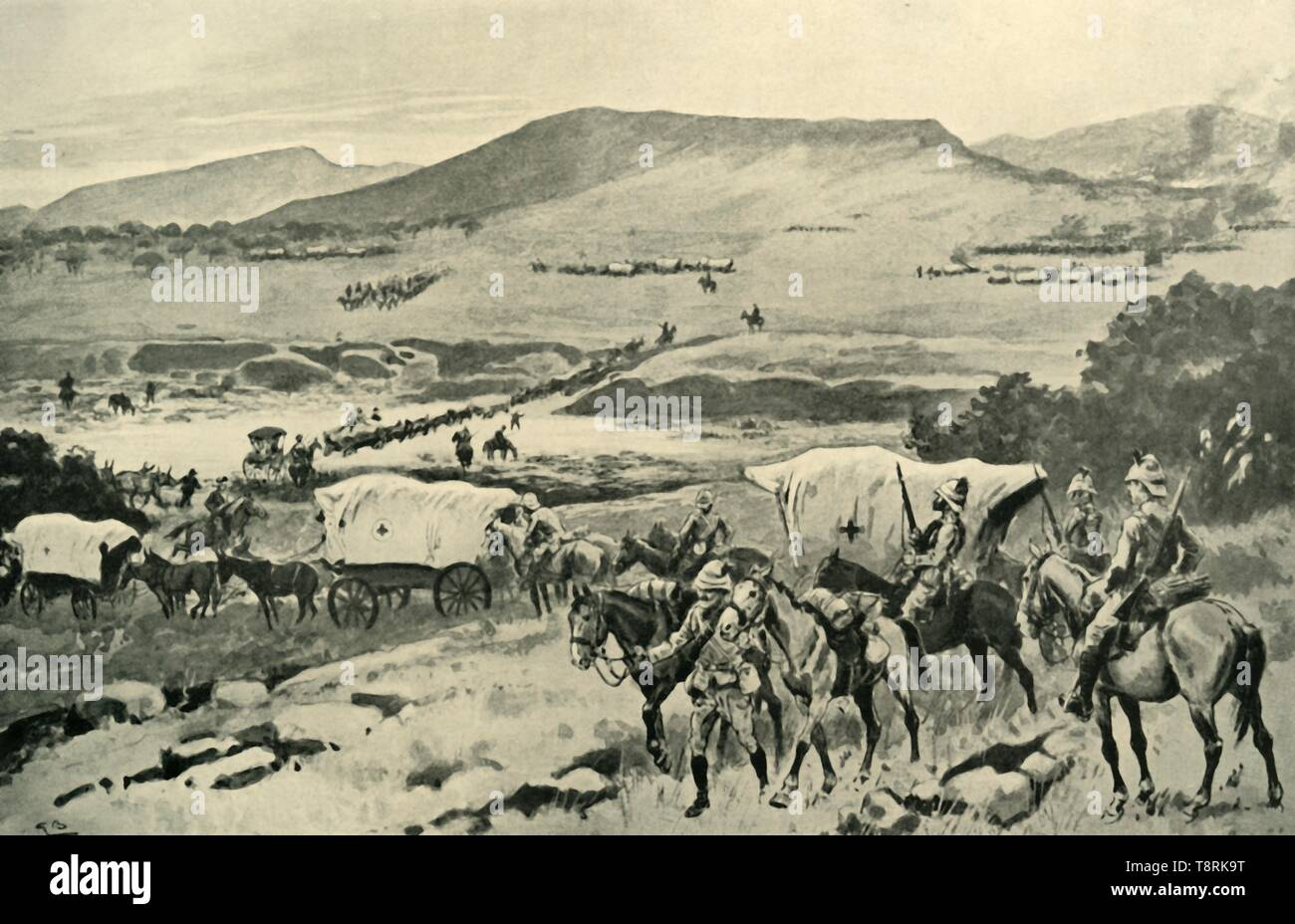 'Generals French and Hutton Crossing the Vaal into Transvaal Territory', (1901).  Creator: Gordon Frederick Browne. - Stock Image