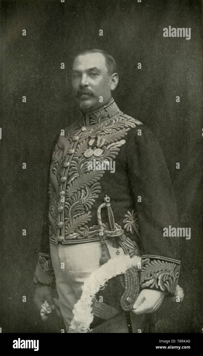 """'General Louis Botha', c1910s, (1919). Portrait of General Louis Botha (1862-1919), Afrikaner soldier and statesman. '...once a gallant foe as Commander-in-Chief of the Boers in the South African War, was Prime Minister of the Transvaal Colony under the new Constitution of 1907, and in 1910 became the first Premier of the Union of South Africa. He took command of the Union Forces of South Africa, operating against the Germans in German South West Africa.' From """"The History of the Great European War: its causes and effects"""", Vol. III, by W. Stanley Macbean Knight. [Caxton Pulishing Co - Stock Image"""