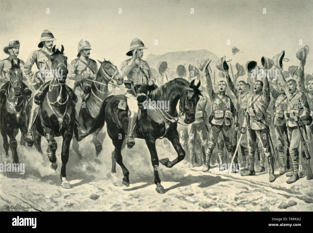 'Lord Roberts Cheered By the Troops on his Arrival at Wonder RIver', (1901). Creator: Unknown. - Stock Image