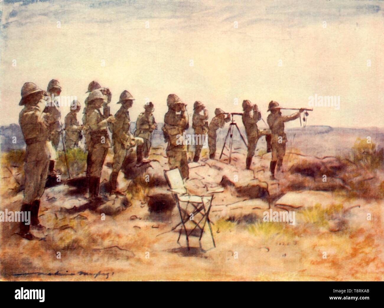 'Lord Roberts and Staff Watching the Battle of Osfontein', 1900, (1901). Creator: Mortimer L Menpes. - Stock Image