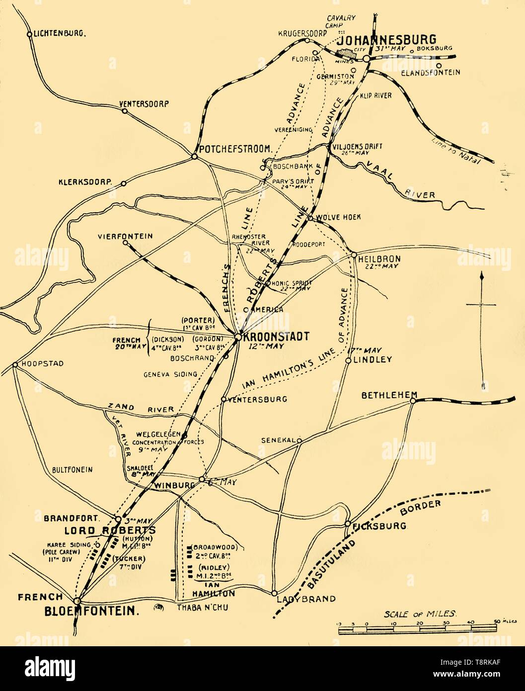 'Map Showing the Lines of Advance from Bloemfontein to Pretoria', 1901. Creator: Unknown. - Stock Image