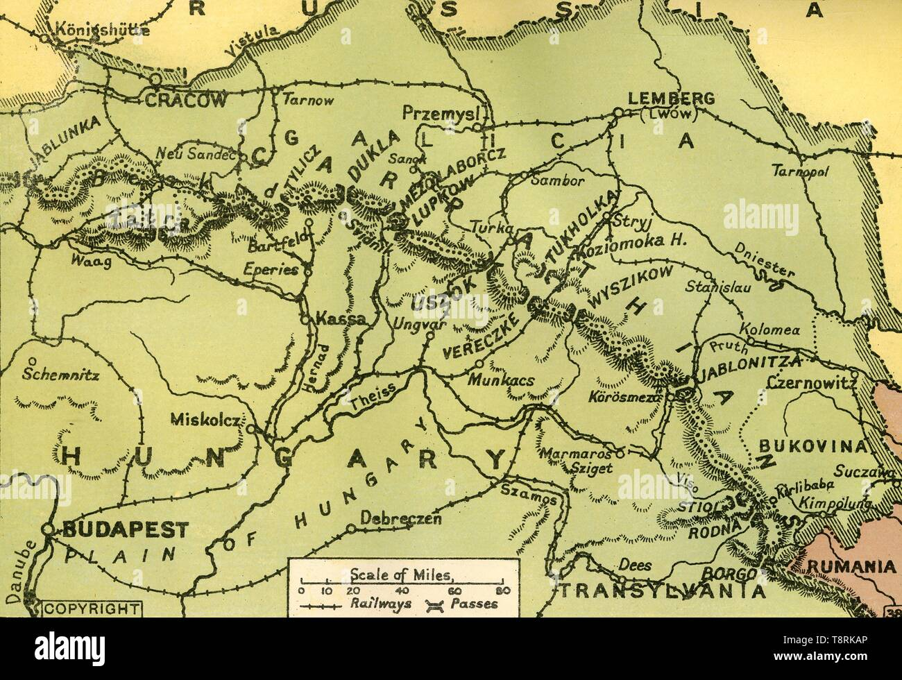 The Carpathian Pes', 1919. Map showing mountain pes in the ... on