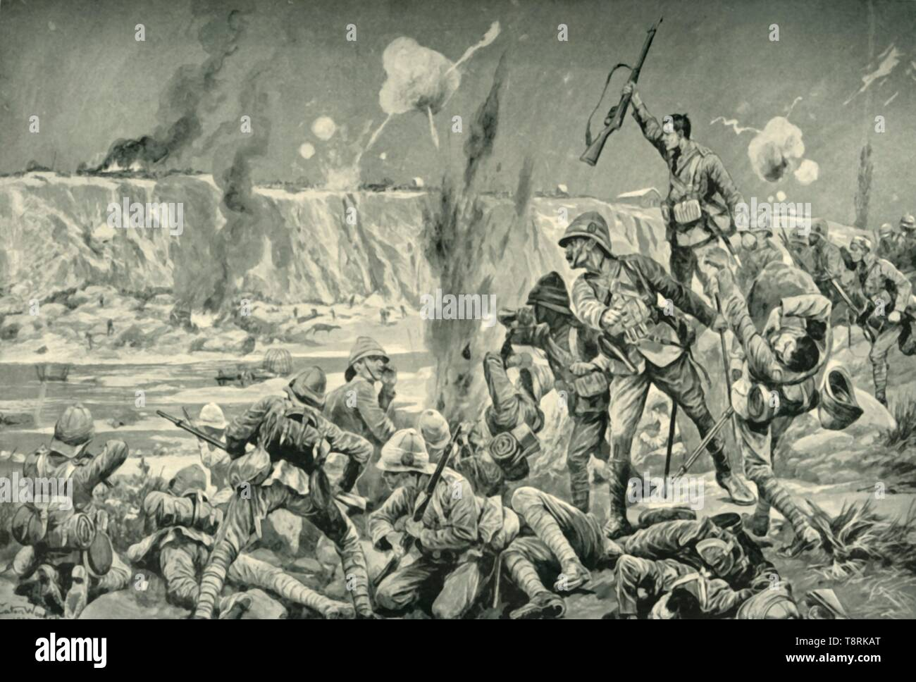 'Paardeberg: The Assault on Cronje's Position', (1901).  Creator: Unknown. - Stock Image