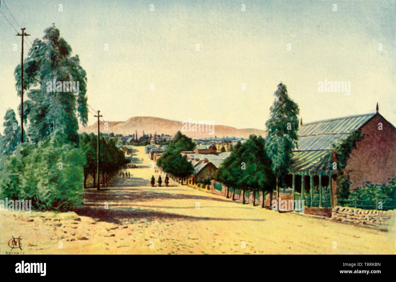 """'Bloemfontein', 1901. The town of Bloemfontein, capital of the Orange Free State, an independent Boer sovereign republic until 1902, and now part of South Africa. From """"The Life and Deeds of Earl Roberts, Vol. IV. - To Lord Roberts's Reign in Pall Mall"""", by J. Maclaren Cobban. [T. C. & E. C. Jack, Edinburgh, 1901] Stock Photo"""