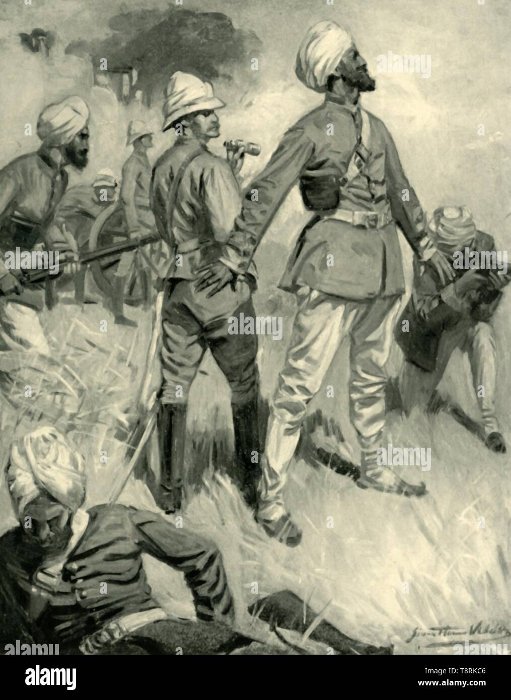 'The Devotion of General Roberts's Sikh Orderly at Spingawi', (1901). Incident during the Afghan Wars: 'on my being hit in the hand by a spent bullet, and turning to look round in the direction it came from, I beheld one of the Sikhs' [Dhyan Singh his notable name] 'standing with his arms stretched out trying to screen me from the enemy, which he could easily do, for he was a grand specimen of a man, head and shoulders taller than myself'. Account by British major general Sir Frederick, 1st Earl Roberts (1832-1914) of an event that occurred c1878 on the border between Afghanistan and India (no - Stock Image