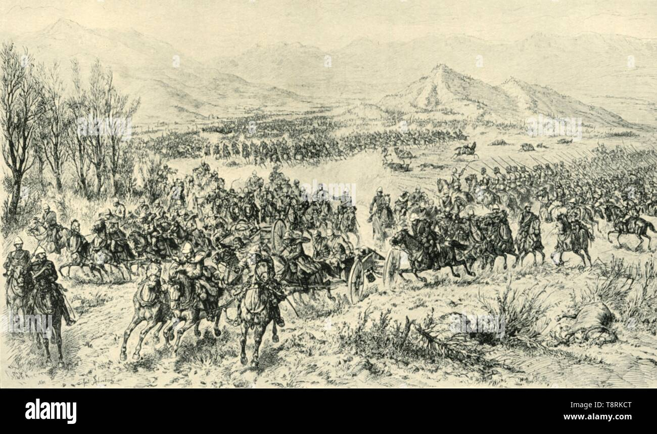 """'Charge of Cavalry to Cover the Retreat of the Guns in the Action of 11th December 1879', (1901). British and Punjab cavalry attacked the Afghans in the Chardeh Valley, Afghanistan, at the Battle of Kabul in December 1879, during the Second Afghan War. From """"The Life and Deeds of Earl Roberts, Vol. III. - To The End of Lord Roberts's Indian Career"""", by J. Maclaren Cobban. [T. C. & E. C. Jack, Edinburgh, 1901] - Stock Image"""