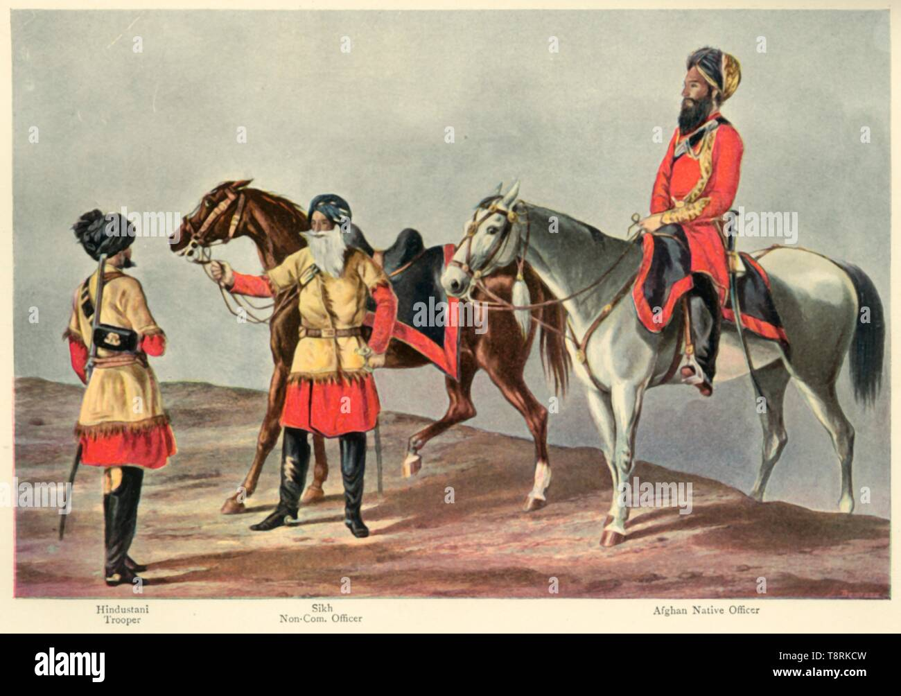 """'The Second Punjab Cavalry', 1901. Indian and Afghan soldiers during the period of the British Raj: 'Hindustani Trooper; Sikh Non-Commissioned Officer; Afghan Native Officer'. From """"The Life and Deeds of Earl Roberts, Vol. III. - To The End of Lord Roberts's Indian Career"""", by J. Maclaren Cobban. [T. C. & E. C. Jack, Edinburgh, 1901] - Stock Image"""
