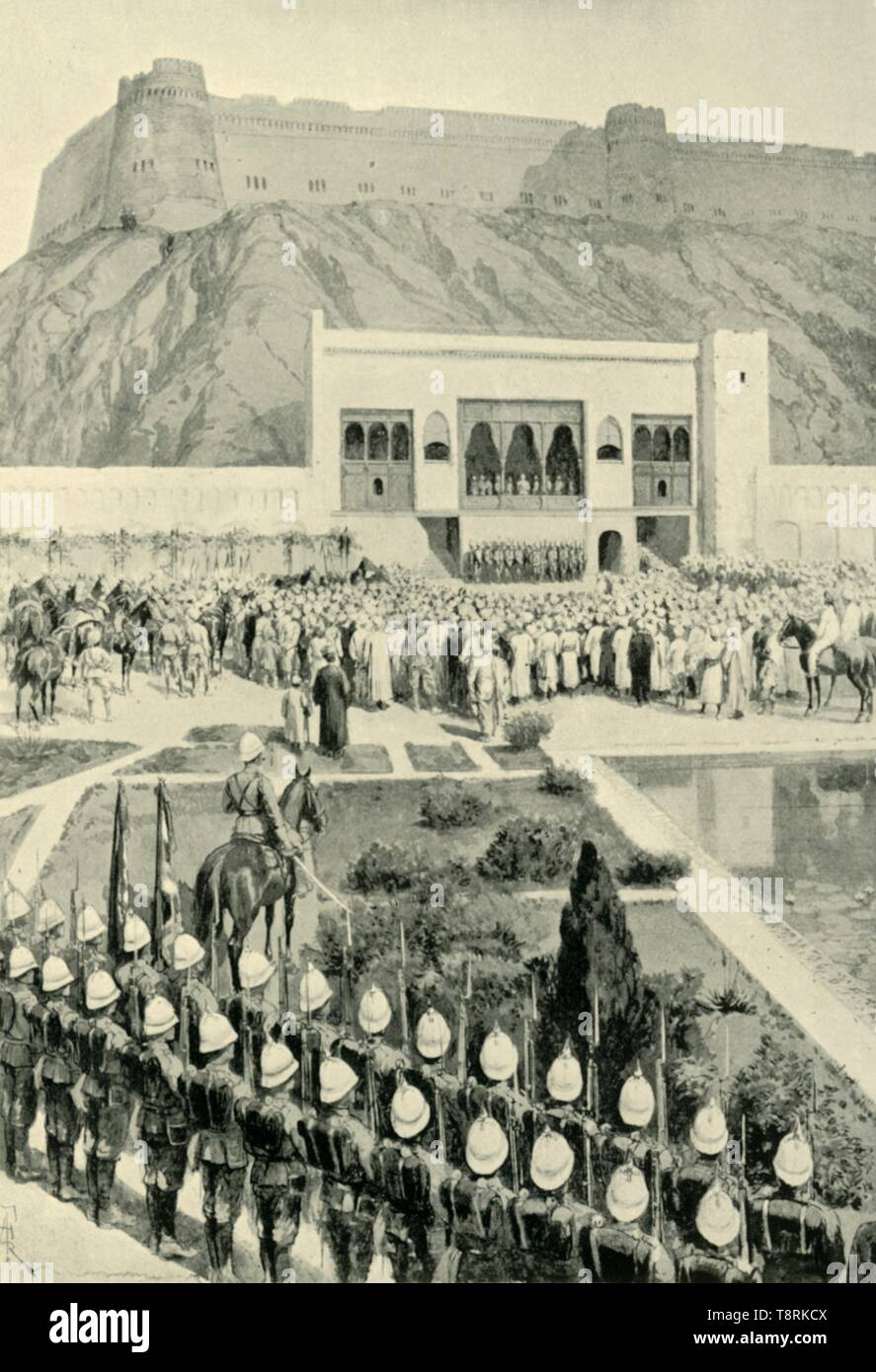 'General Roberts Reading His Proclamation at Kabul, October 12, 1879', (1901).  Creator: Amedee Forestier. - Stock Image