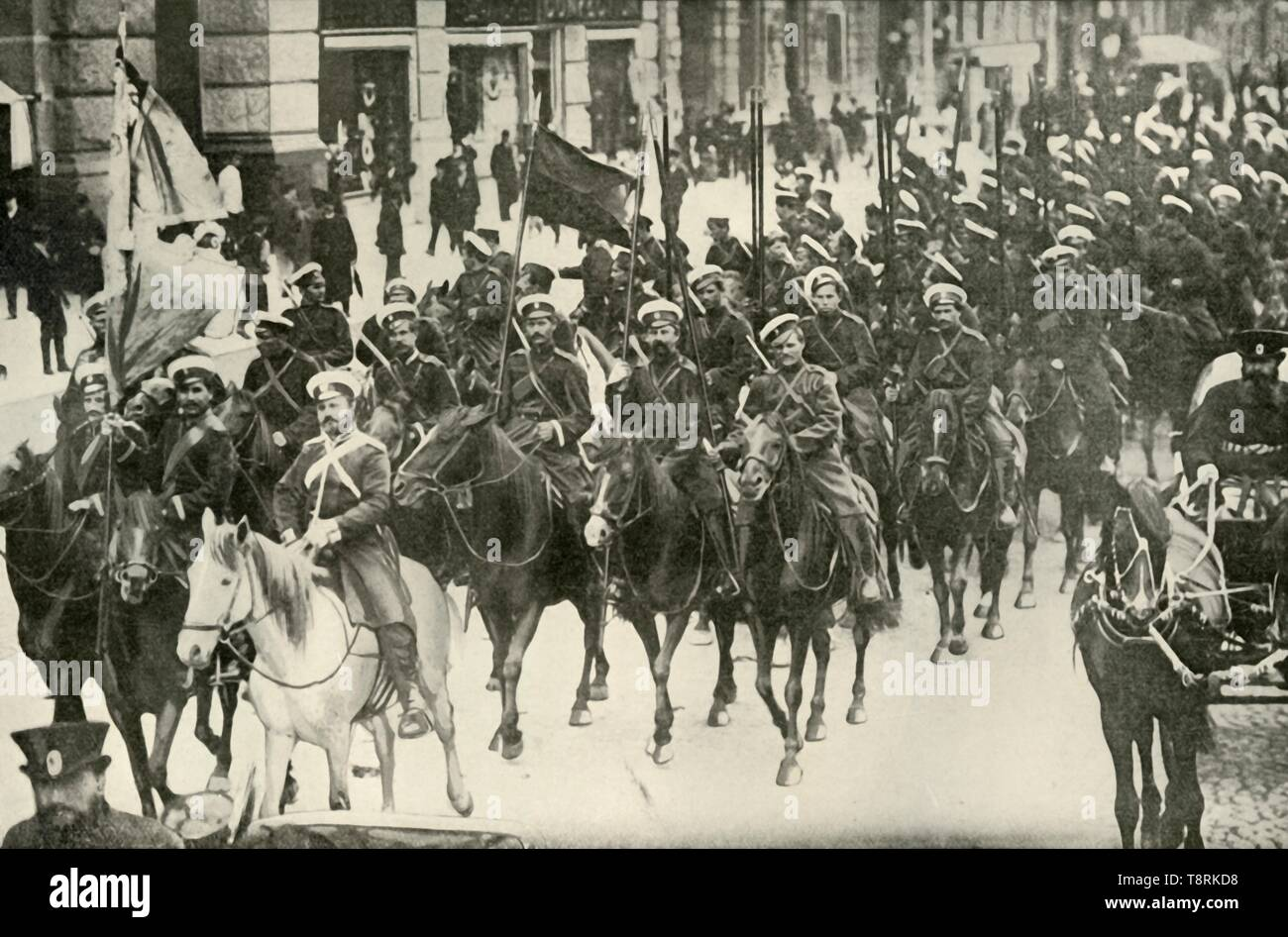 """'Types of the Russian Cavalry', (1919). Scene from the First World War, 1914-1919: 'The Russian cavalry have peculiar methods of attack like no other cavalry in the world.' From """"The History of the Great European War: its causes and effects"""", Vol. I, by W. Stanley Macbean Knight. [Caxton Pulishing Company, Limited, London, 1919] - Stock Image"""